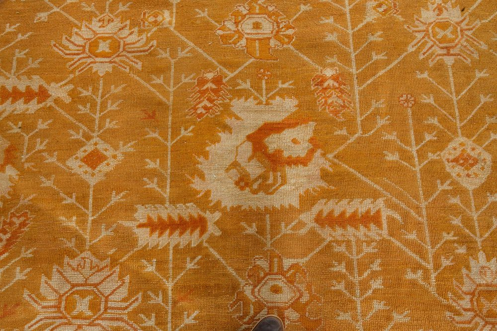 Antique Oushak Rug in Shades of Amber and Green (Size Adjusted) BB7160