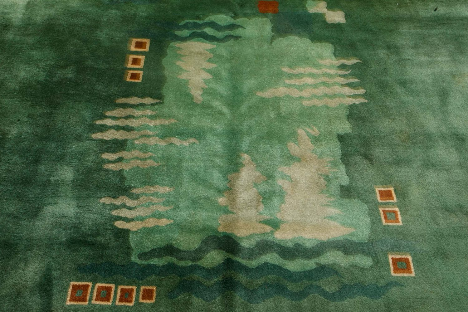 Chinese Art Deco Brown, Green and Ivory Handwoven Wool Rug BB7212