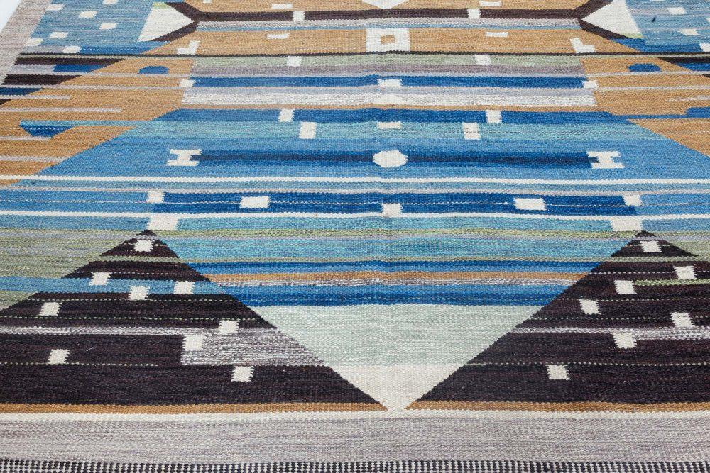 Swedish Design Blue, Brown, Gray, Green and Ivory Flat-Weave Rug N12118