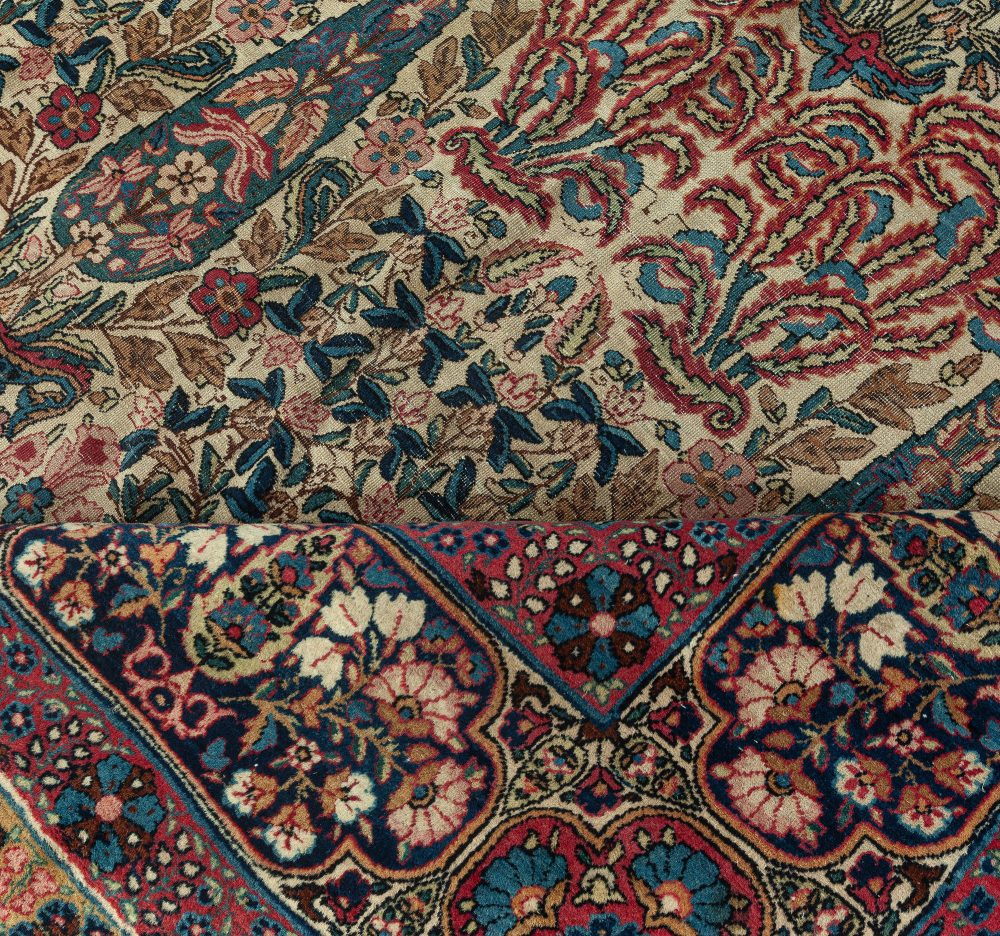 Antique Persian Kirman Blue, Brown, Green, Pink and Red Wool Rug BB7345