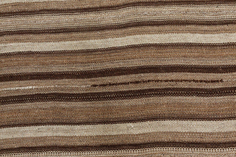 Midcentury Striped Persian Kilim Beige and Brown Rug BB7297