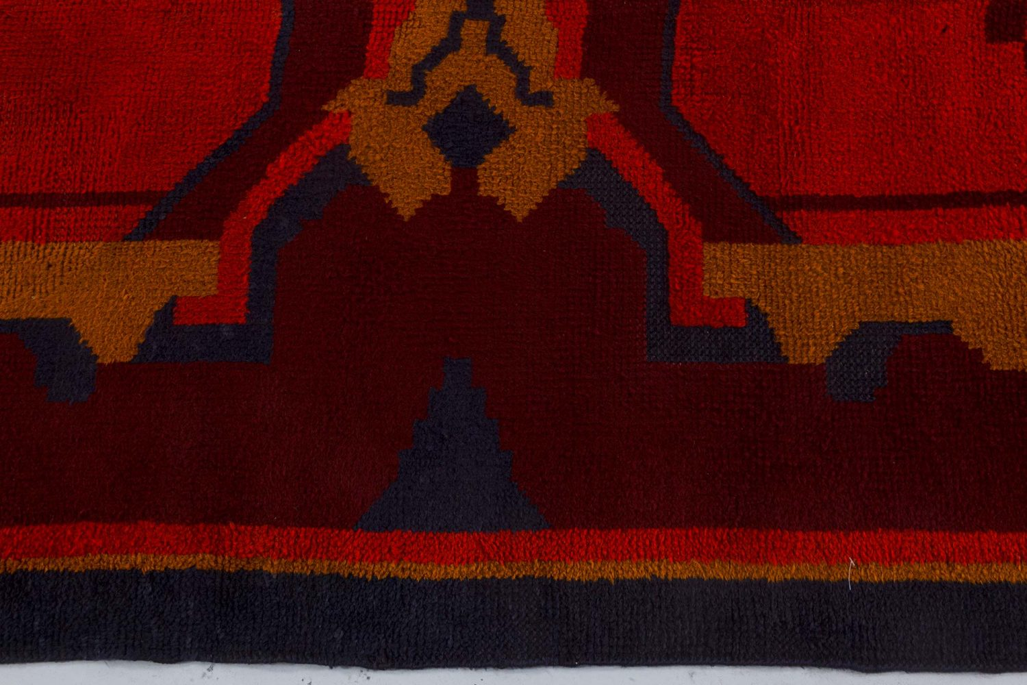 Vintage Art Deco Black, Brown, Gold and Orange Wool Rug BB7338