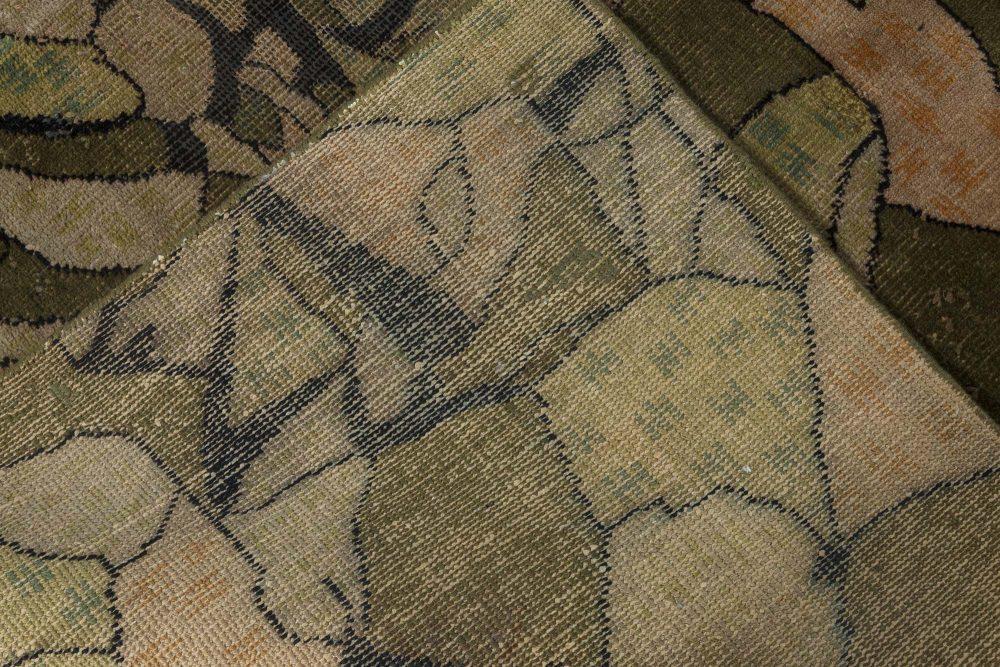 Midcentury European Art Deco Beige, Black and Green Wool Rug BB7339