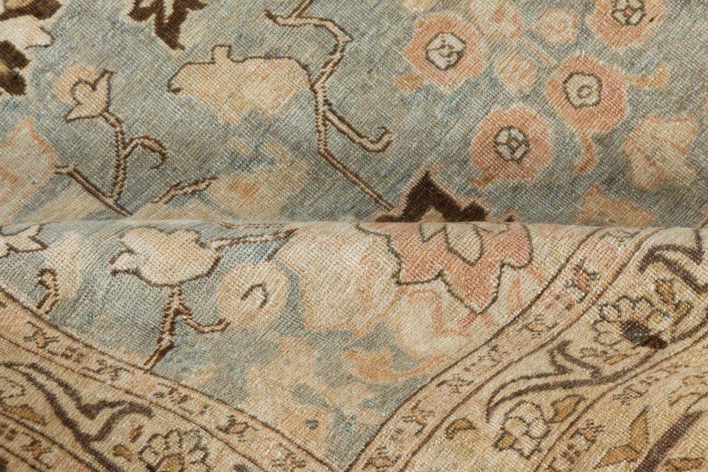 1920s Persian Tabriz Rug in Beige, Blue and Brown Flower Design BB7344