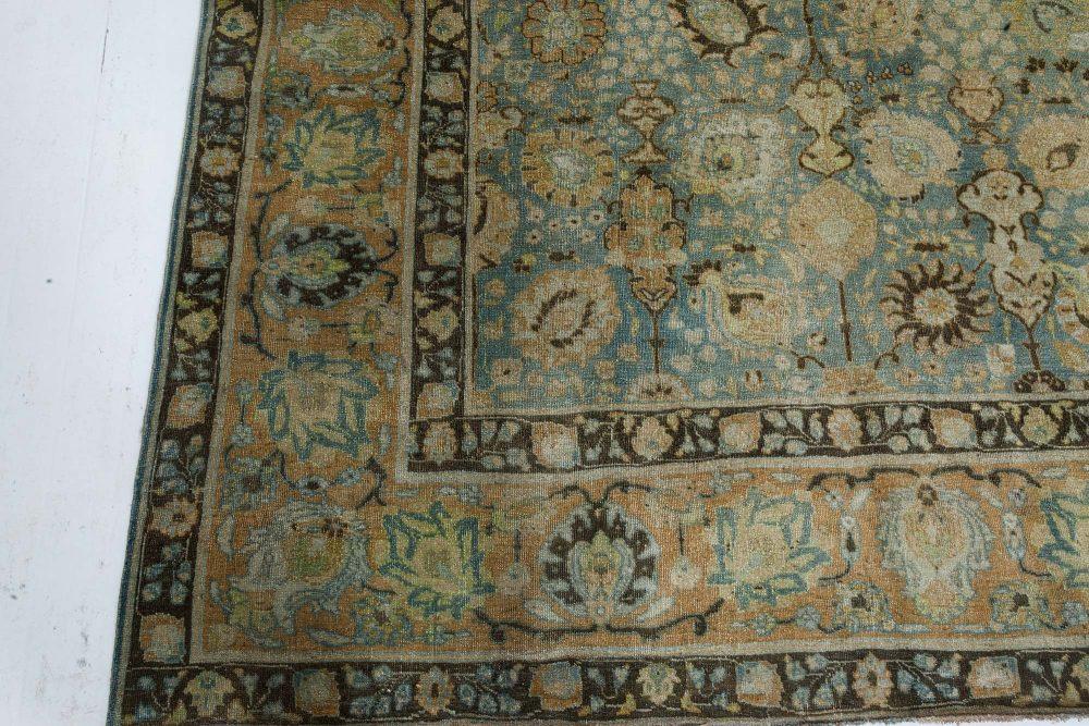 Antique Persian Tabriz Blue, Brown & Gold Handwoven Wool Rug BB7346