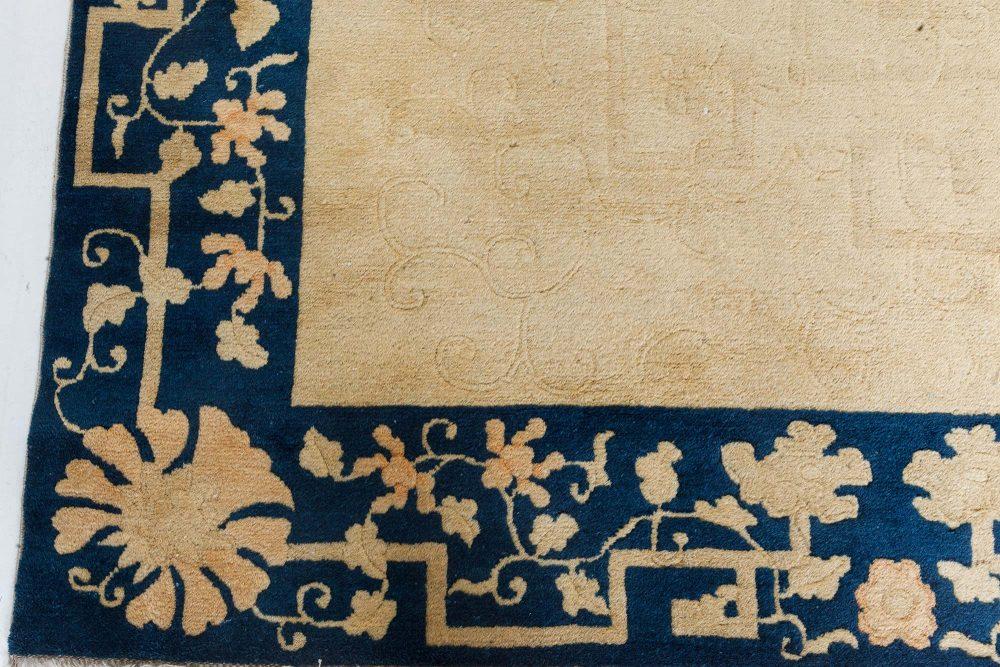 Vintage Chinese Beige & Blue Handwoven Wool Rug BB7347