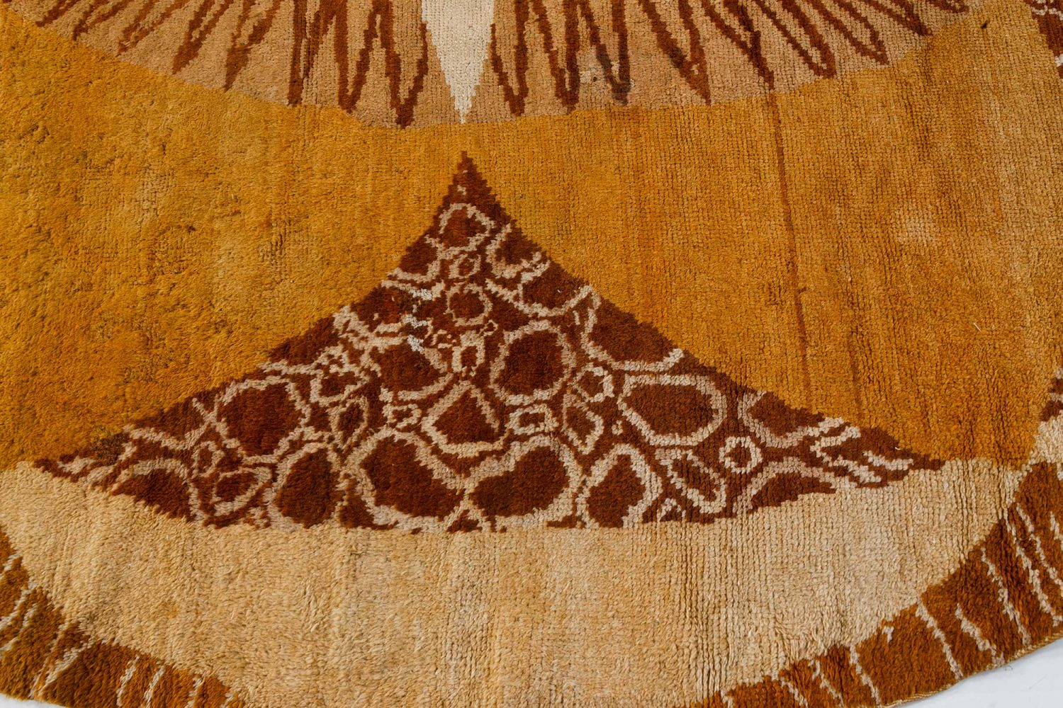 Vintage Round Art Deco French Beige, Brown and Gold Wool Circular Rug BB7351