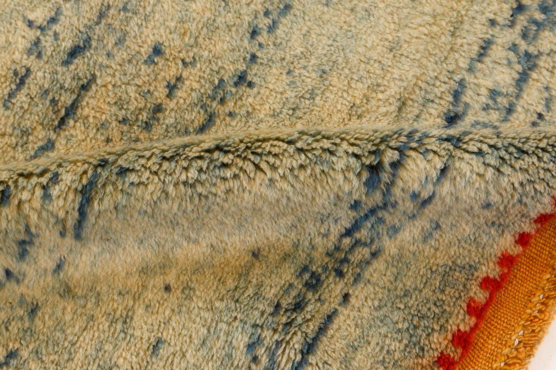 Midcentury Moroccan Orange, Blue & Beige Handwoven Wool Rug BB7352