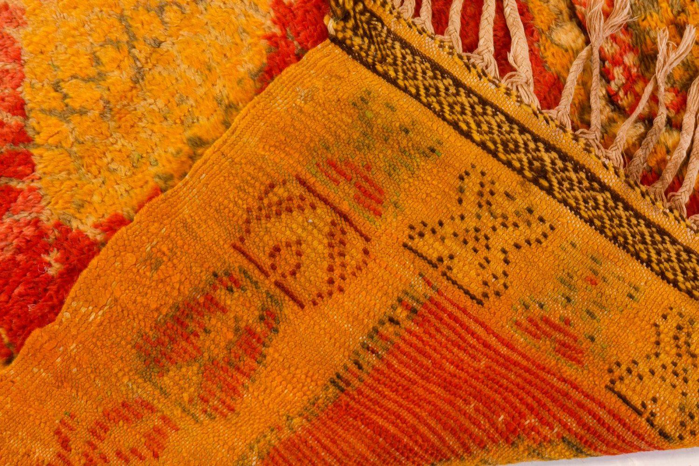 Vintage Tribal Moroccan Wool Rug in Red, Orange, Beige, and Black BB7354