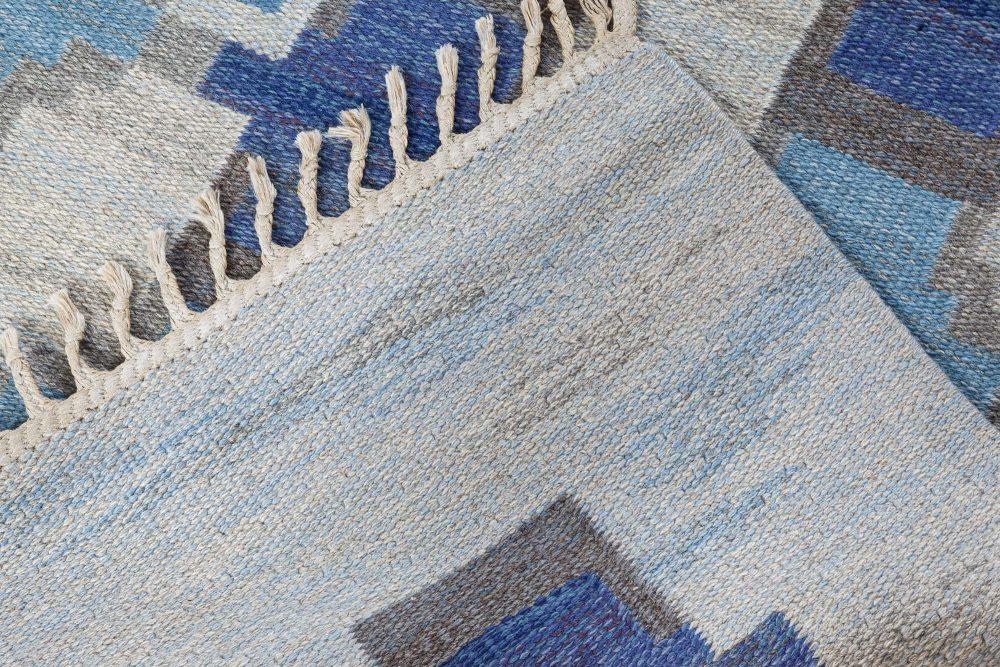 Mid-Century Blue and Grey Swedish Rug by Judith Johanson BB7357