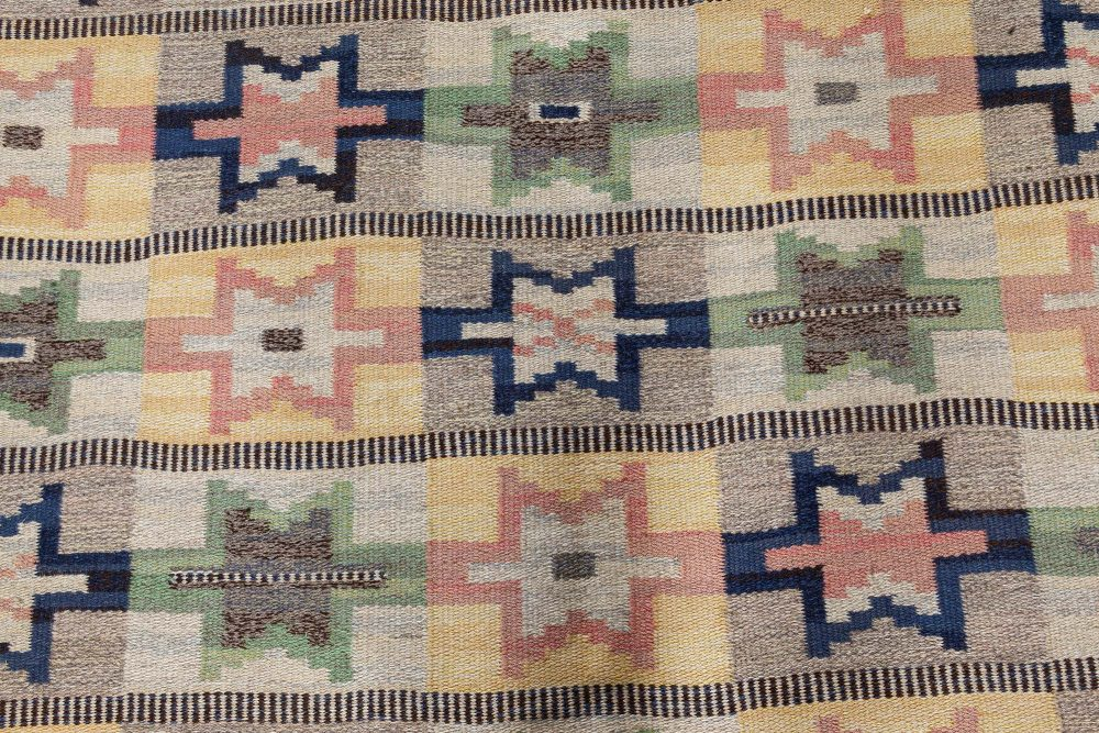 Mid-Century Swedish Flatweave Rug in Green, Pink, Amber, Blue, and Grey BB7358