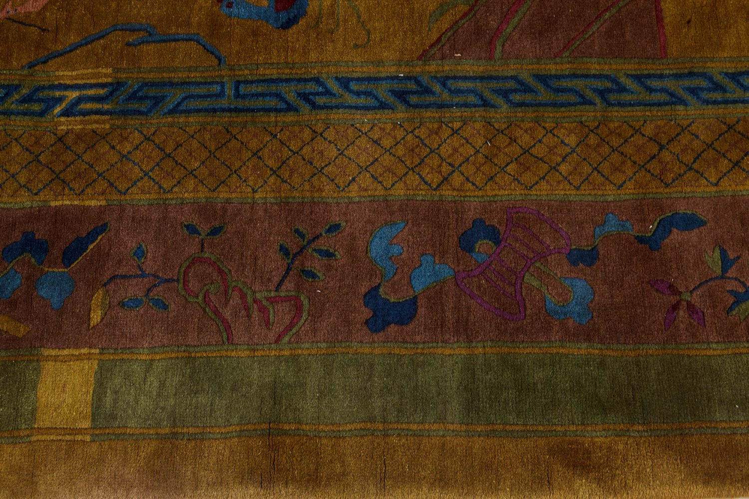 Chinese Art Deco Rug in Blue, Gold, Green, and Purple BB7361