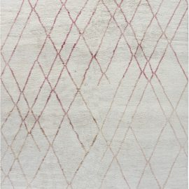 Tribal Style Modern Moroccan Wool Rug in Pink and White N12126