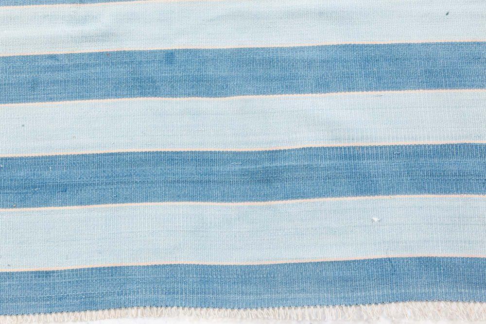 Dhurrie Handmade Rug in Blue Stripes BB7364