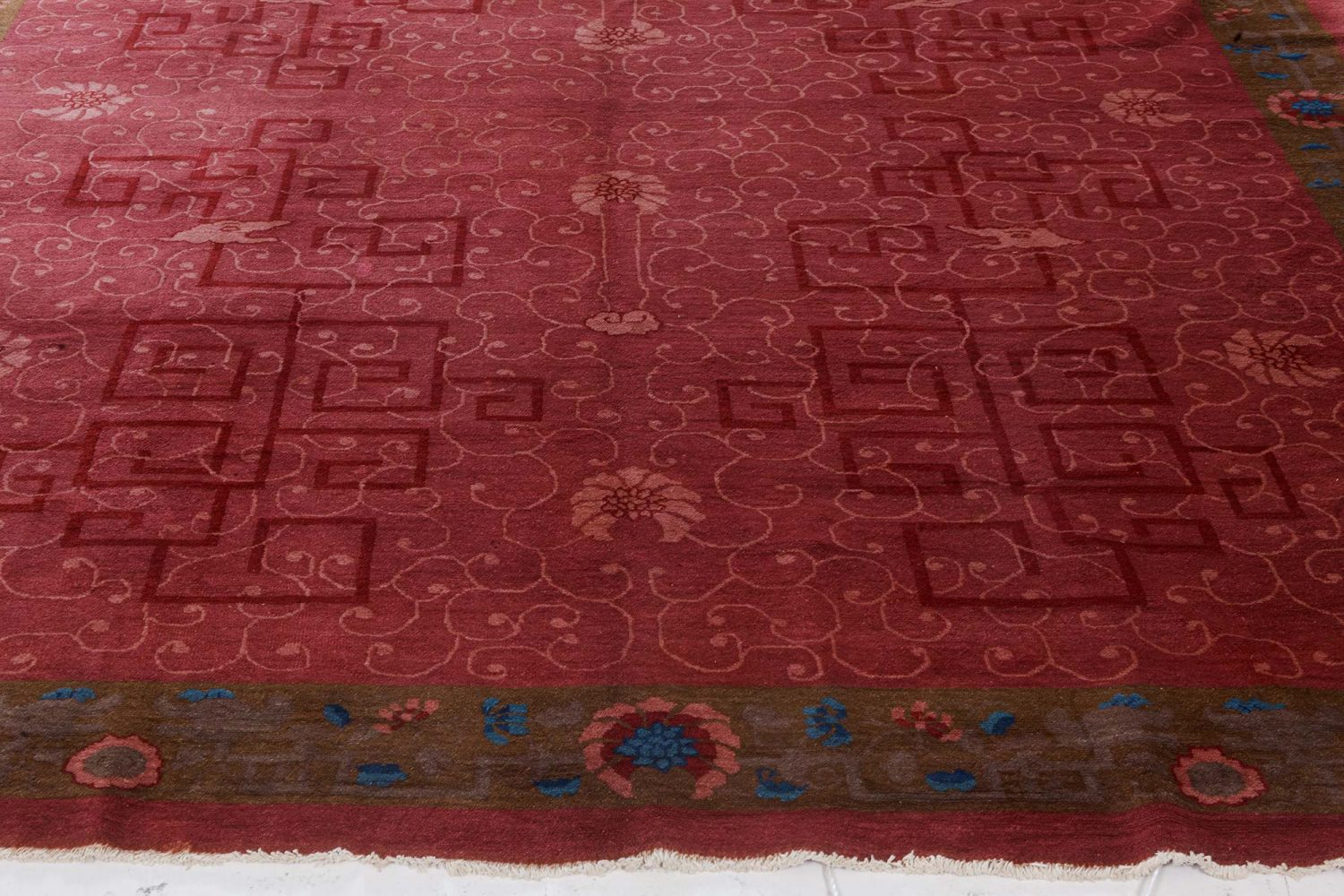 Art Deco Chinese Handmade Rug in Blue, Brown and Pink BB7360
