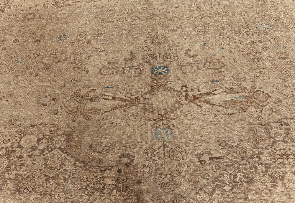 Oversized Antique Persian Malayer Rug in Beige, Blue and Brown BB7585