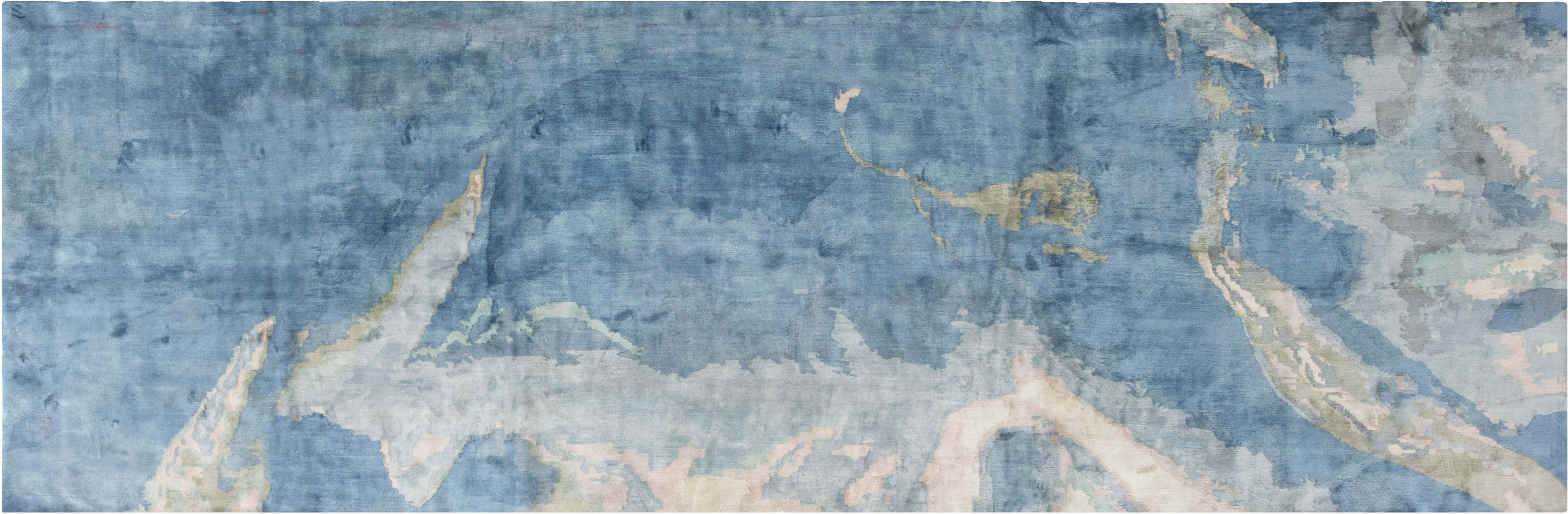 Zeitgenössischer blauer, handgeknüpfter Seidenläufer N11770