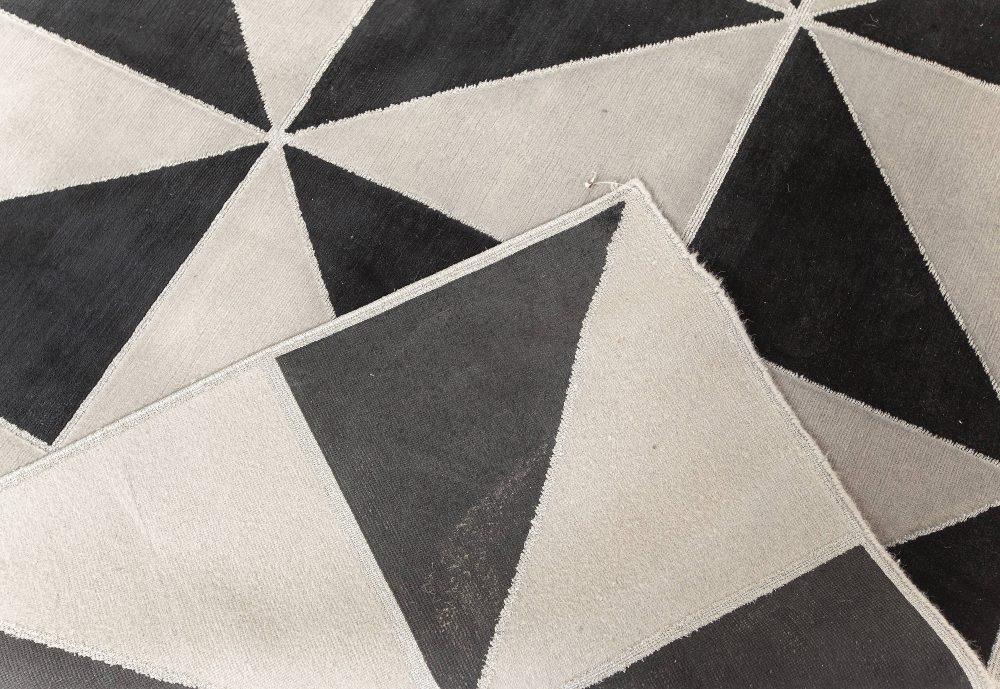 Magic Rug in Black Mohair, Smoky Grey Silk, and Silver Threads N12166