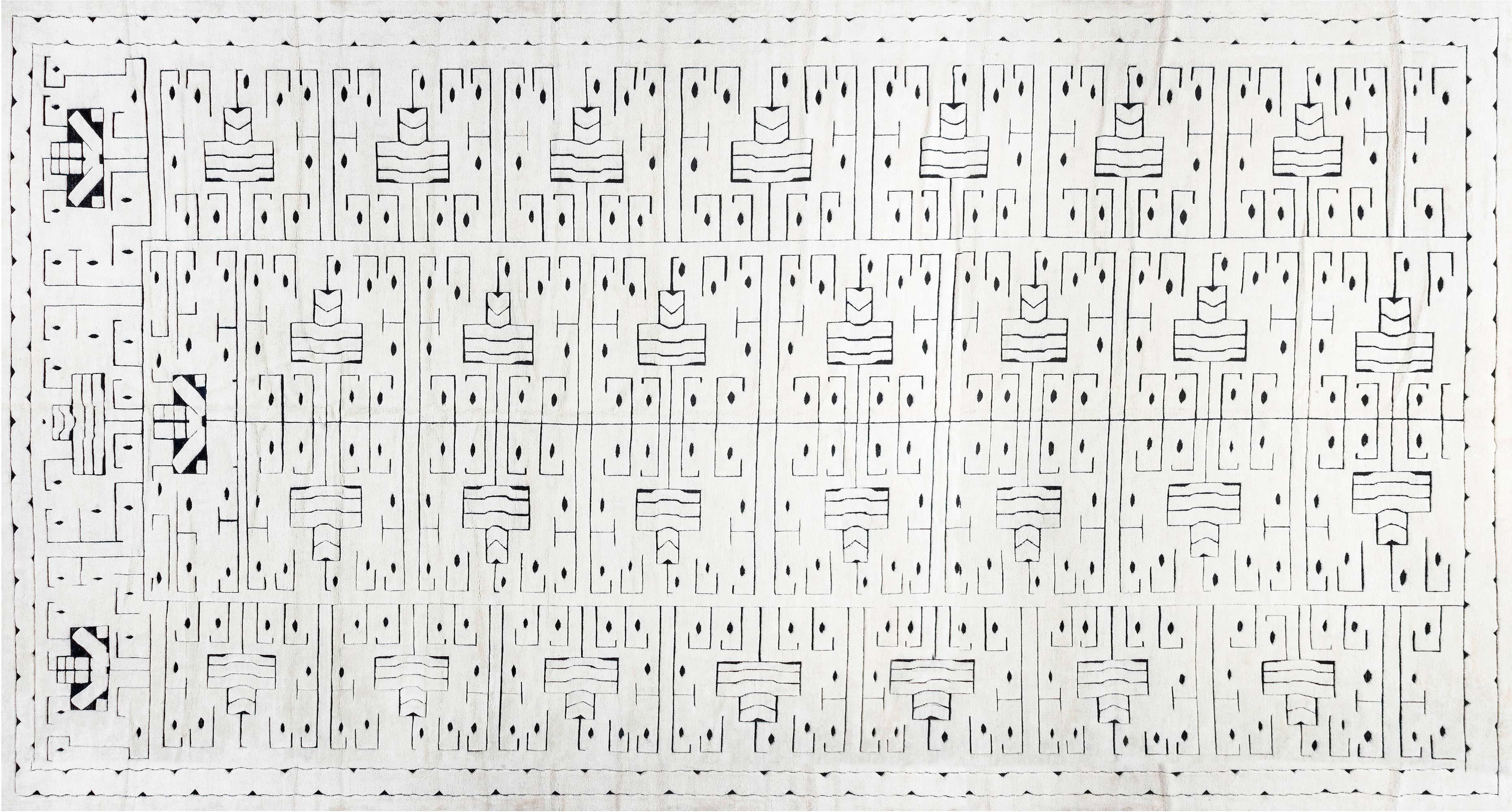 Schwedischer Skvattram Halbflor Geometrischer Weiß-Schwarzer Teppich N12060