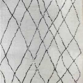 Oversized Tribal Style Modern Moroccan Rug in White and Black N12169