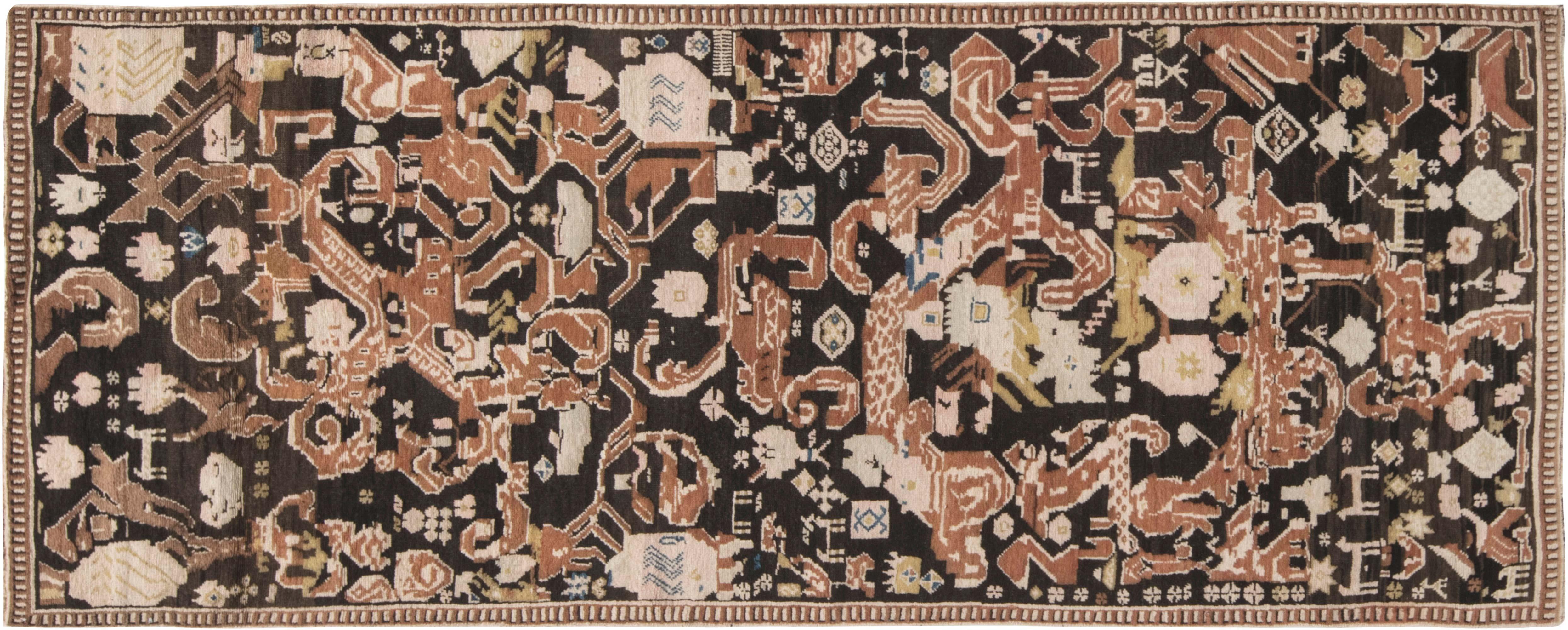 19. Jahrhundert Karabagh Ziegelrot, Weiß und Braun Handgewebter Wollteppich BB6629