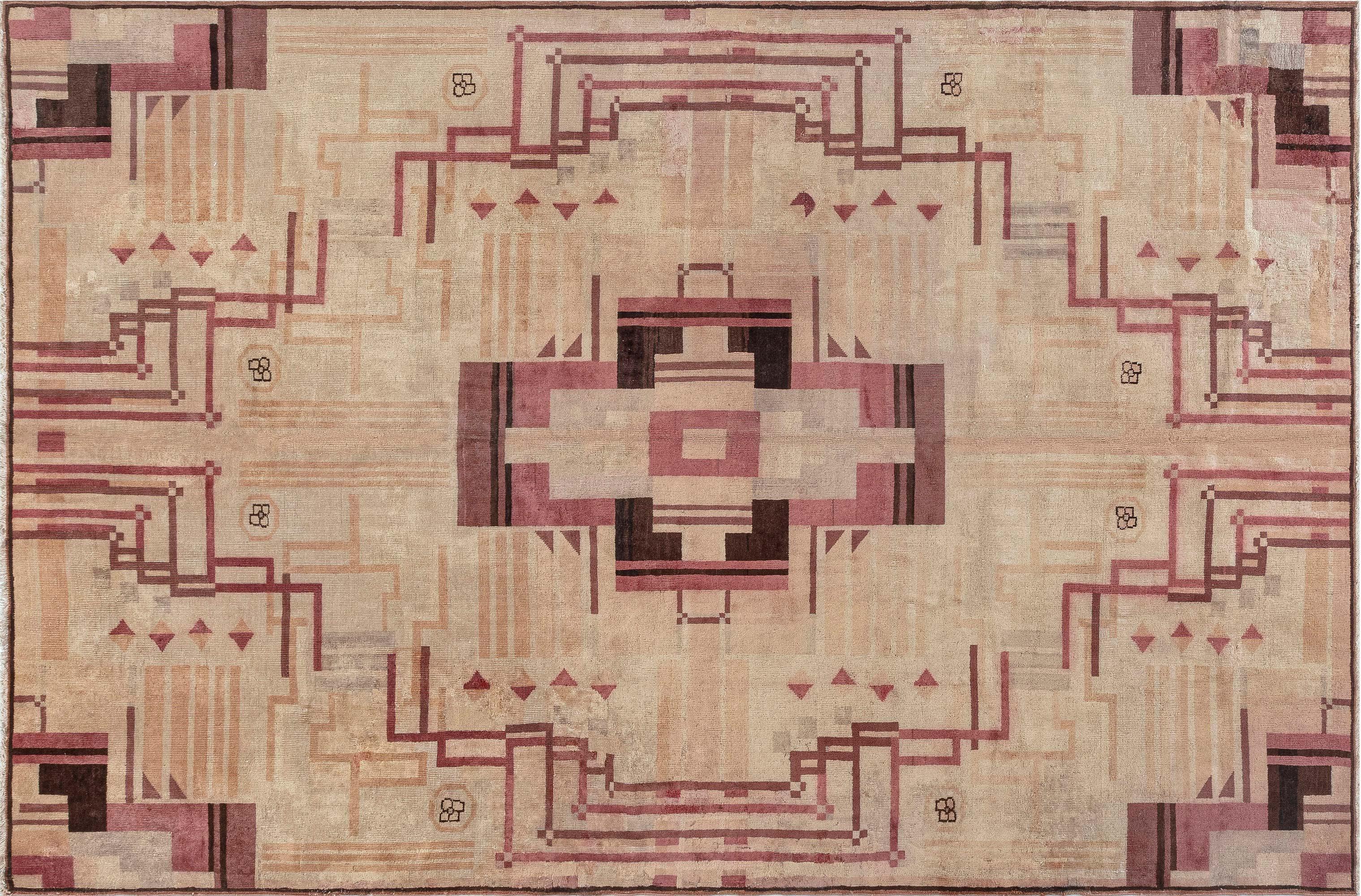 Vintage Art Deco Teppich in Rosa BB7529