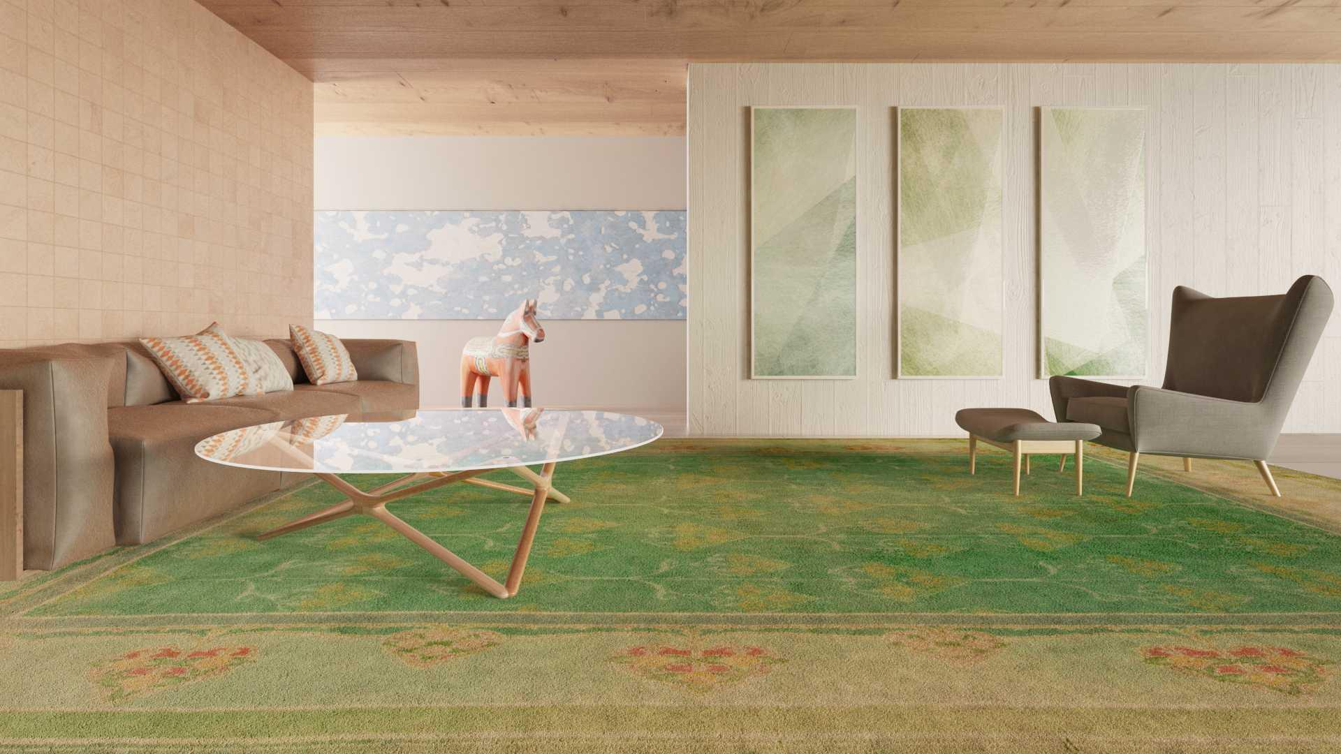 Vintage carpet BB5442 in a living room