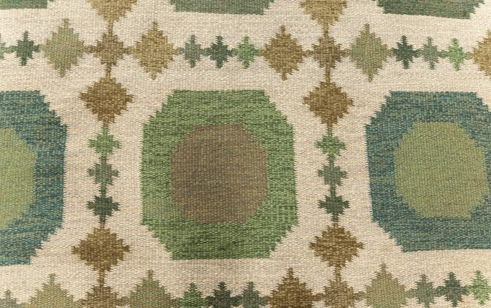 Vintage Swedish Flat weave Rug by Birgitta Södergren (BS) BB7604