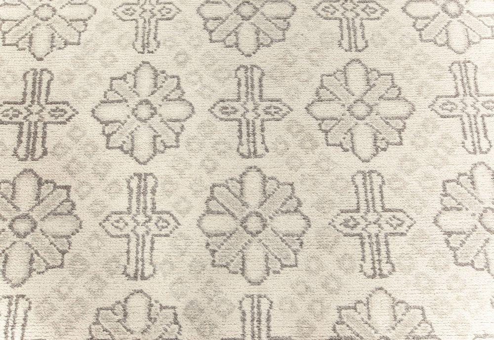 Transitional Grey Cotton Agra Runner N12200