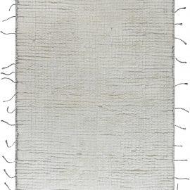 Tribal Style Moroccan Rug in White Wool N12184