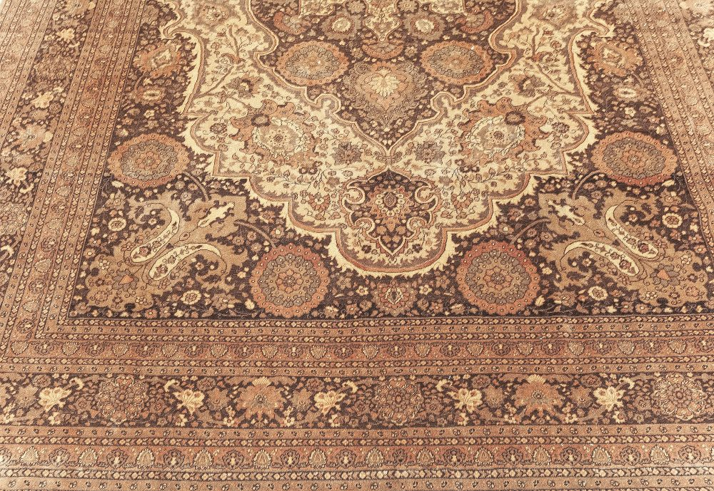 Persian Tabriz Rug in Beige and Brown BB7626