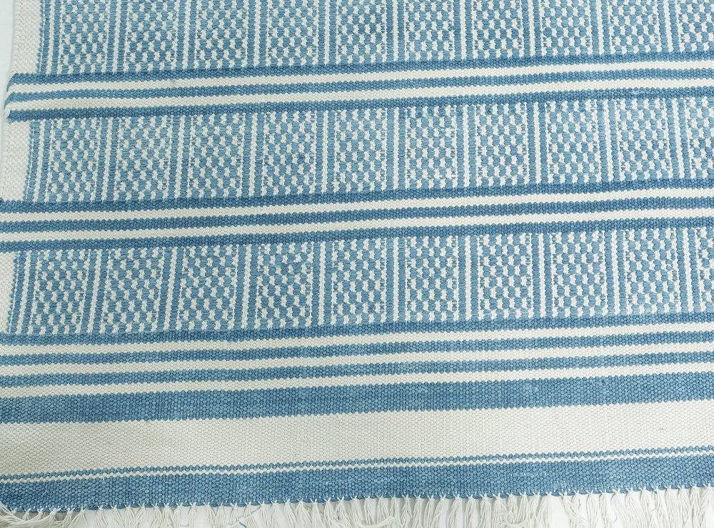 Traditional Style Contemporary Blue Dhurrie Rug N12213