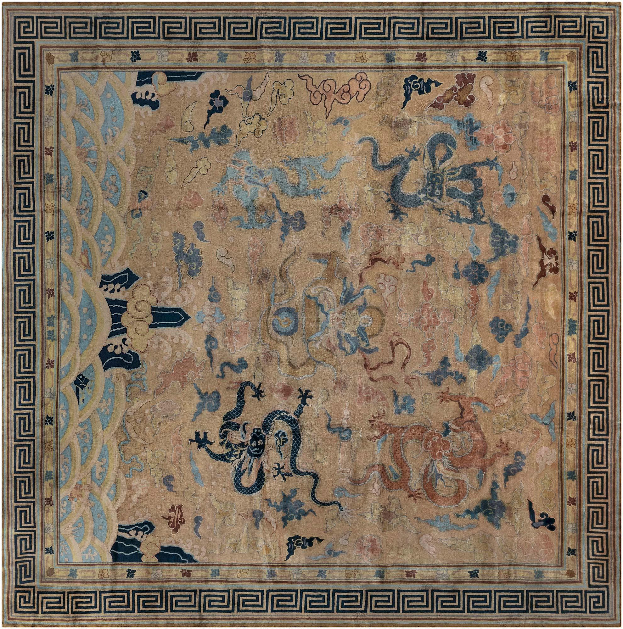 Chinesischer Vintage Handgewebter Wollteppich in Hellblau, Marineblau und Beige BB7135