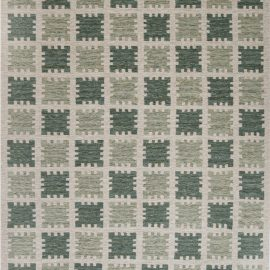 Contemporary Scandinavian Style Rug in Shades of Green N12192