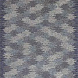 Mid-Century Blue and Grey Swedish Rug, Signed: EG BB7627
