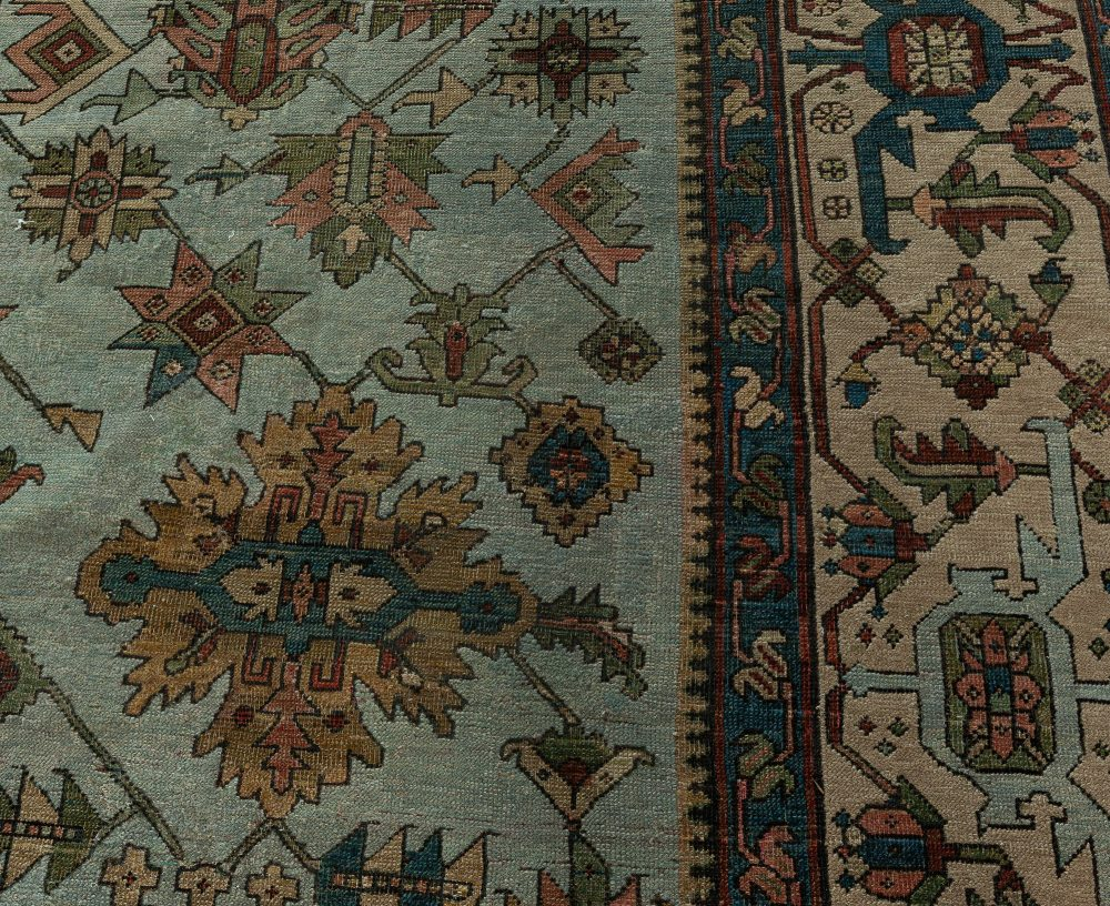 Antique Persian Heriz Rug in Beige, Blue, Brown, Green and Red BB7643