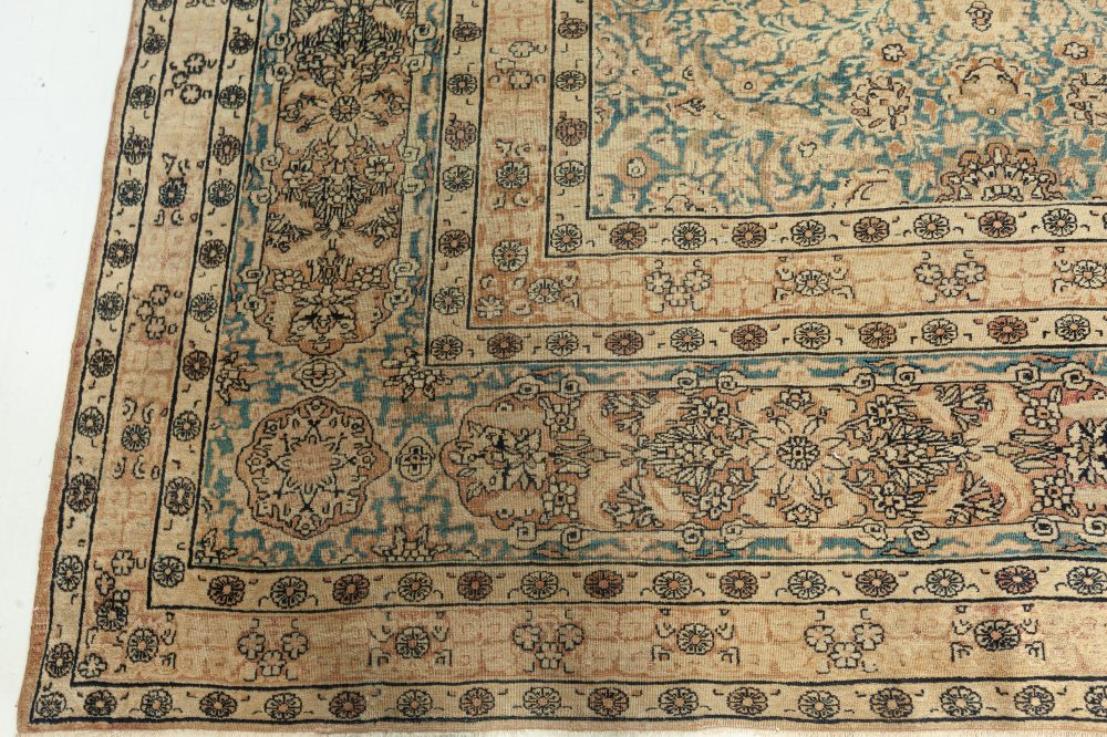 Antique Persian Kirman Rug in Beige, Blue and Brown BB7645