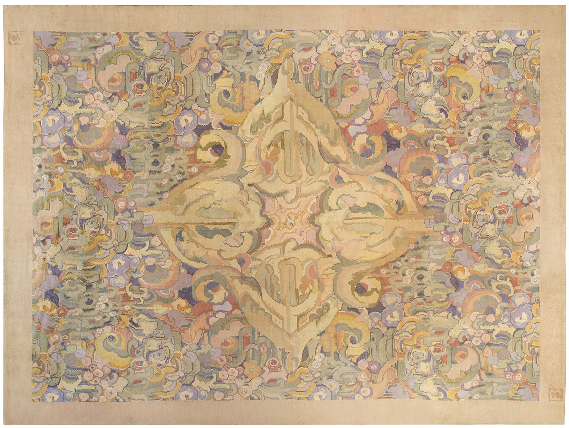 1930 Art Deco Rug by Sir Frank Brangwyn BB0106<BR> The largest of the three rugs available for sale at Doris Leslie Blau