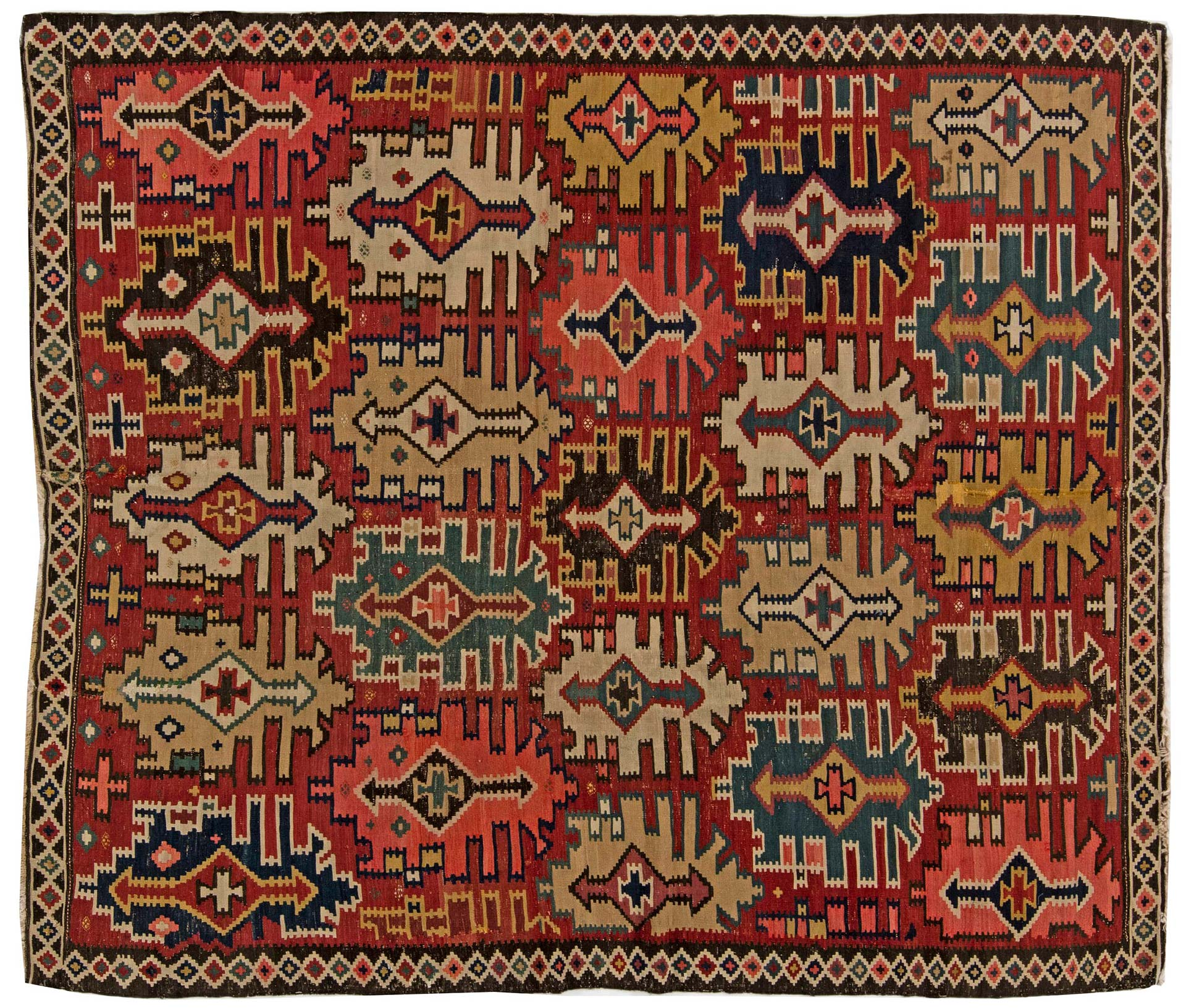 BB6268 Vintage kaukasischen Kuba Kelim